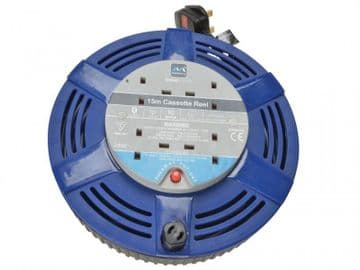 Cassette Cable Reel 240V 10A 4-Socket Thermal Cut-Out Blue 15m